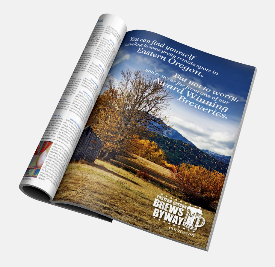 Print: Magazine advertisement and logo design for Eastern Oregon Visitors Association and Brews Byways by Cameron Kaseberg