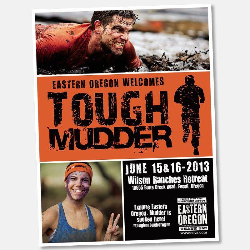 Magazine advertisement for Tough Mudder event, Eastern Oregon Visitor's Association.