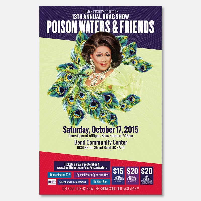 Print: Poster for Poison Waters and Friends, a Human Dignity Coalition fundraiser in Bend, Oregon – by Kaseberg design.