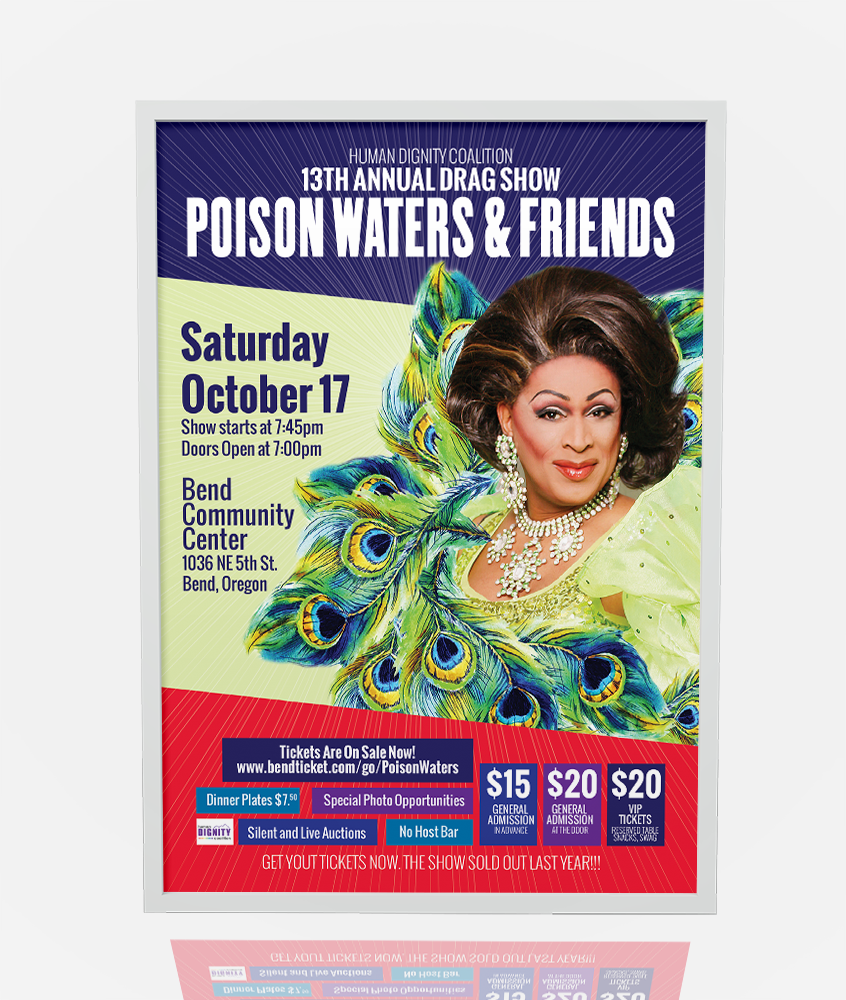 Print: poster for the Poison Waters Human Dignity Coalition fund raiser