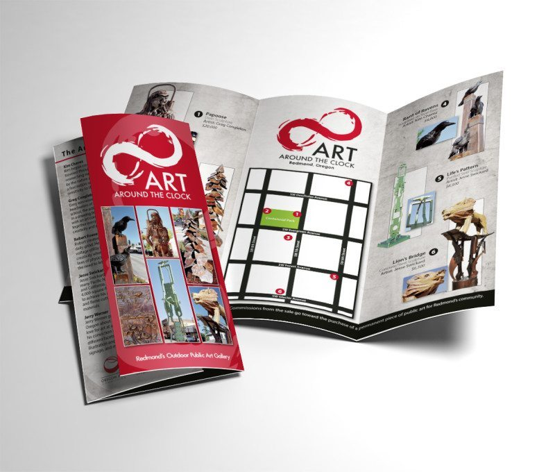 Print Design for a brochure promoting Art Around the Clock, an RCAPP rotating public art gallery in downtown Redmond, Oregon – by Kaseberg Design.