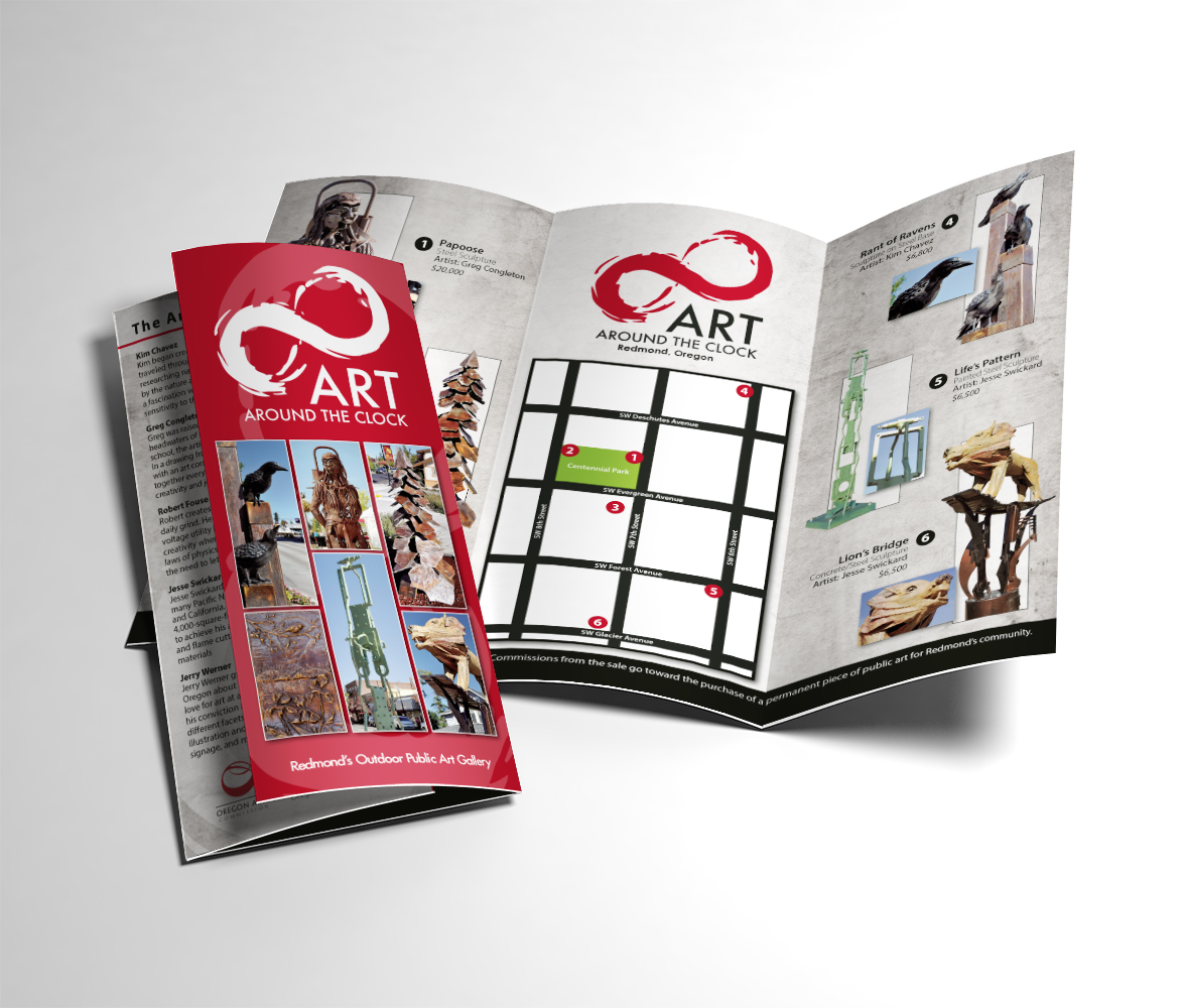 Print: Art Around the Clock brochure for the City of redmond, Oregon's Public Art Commission.