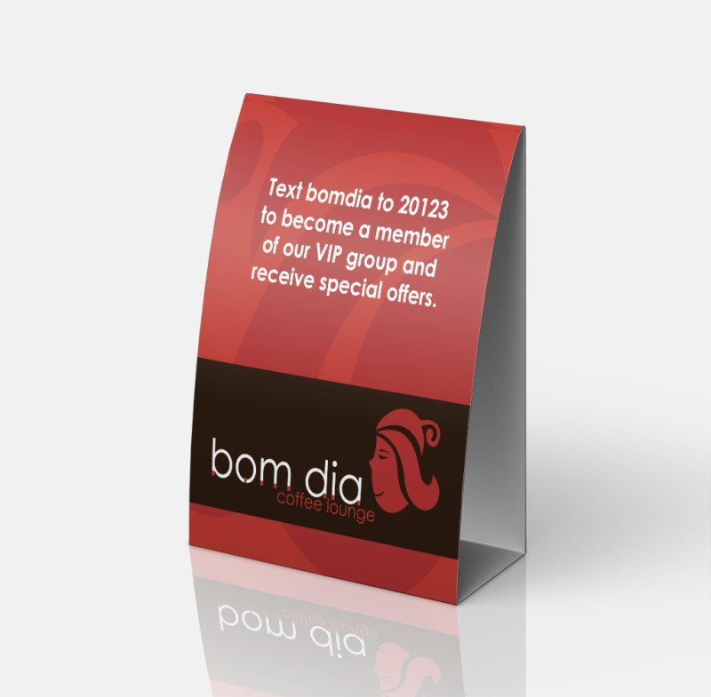 Print design - Table tent for Bom Dia Coffee in Bend, Oregon – A project with the marketing dept by Kaseberg Design.