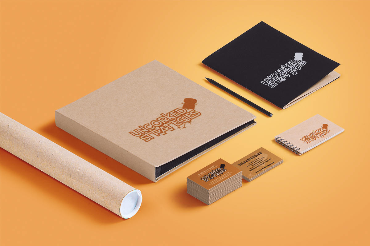 Logo / Print: Logo and business cards for Uncorked Strategies by Cameron KAseberg (image mockup)