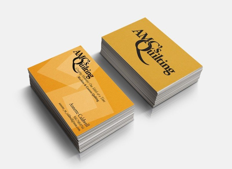 Logo and business card design for AMC's Quilting – A project with Connexion Printing Consultants by Kaseberg Design.