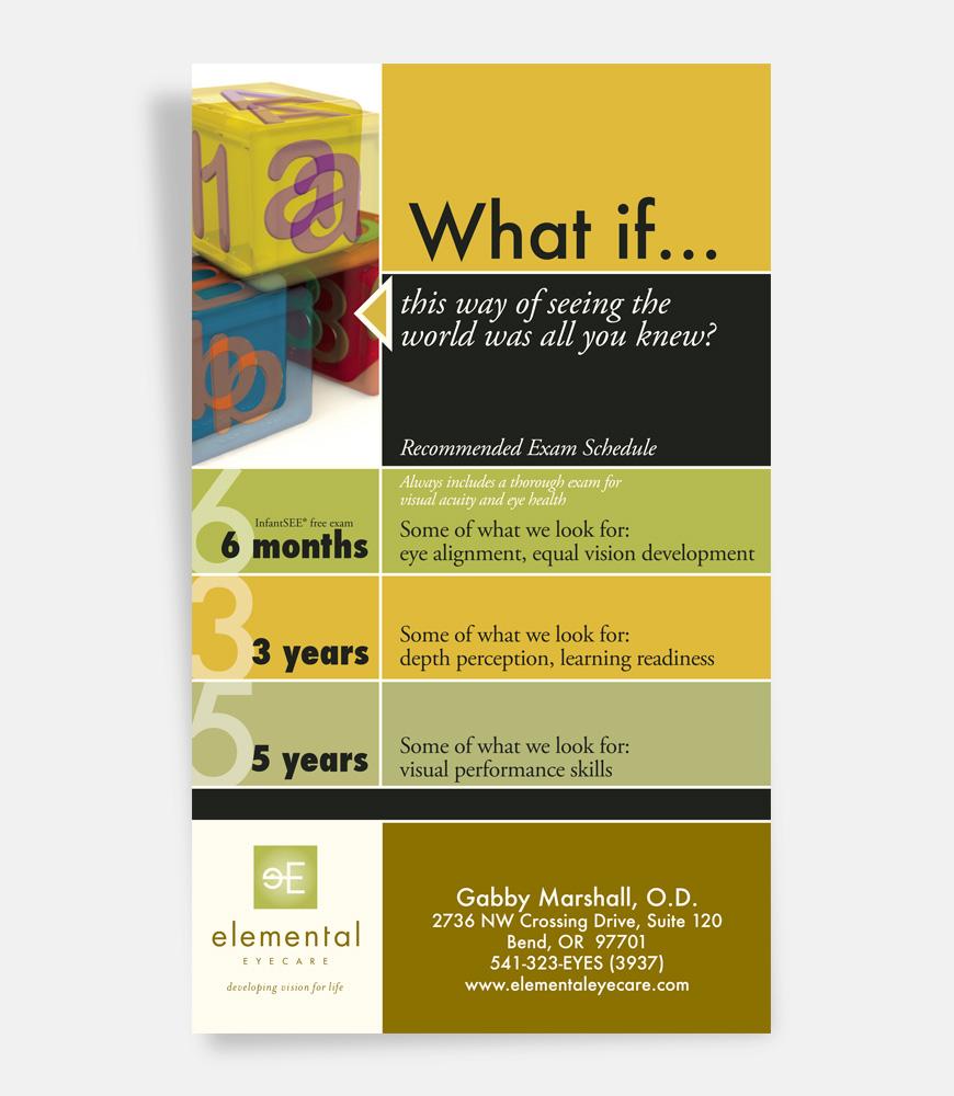 Print: Flyer/postcard for Elemental Eye Care by Cameron Kaseberg