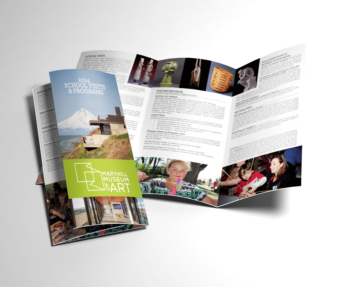 Print: School Visits brochure for Maryhill Museum of Art by Cameron Kaseberg