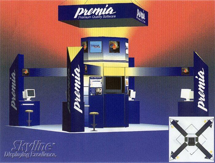 Premia Exhibit rendering - Skyline Displays